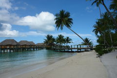 Bora Bora overwater huts. From the beach Stock Images