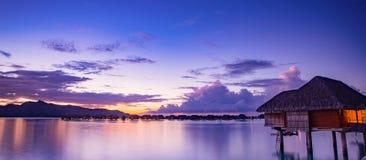 Bora Bora på solnedgången Fotografering för Bildbyråer