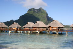 Bora Bora stilts bungalows Royalty Free Stock Image