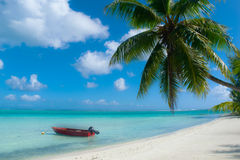 Bora Bora strand Royaltyfri Bild