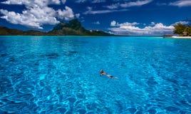 Bora bora. Swimming near Bora Bora in the French Polynesian Royalty Free Stock Photo