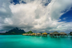 Bora Bora under dramatic clouds Royalty Free Stock Images