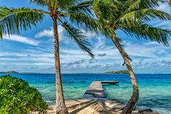 Bora bora french polynesia aerial airplane view luxury resort overwater Royalty Free Stock Photo