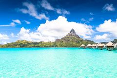 Bora Bora Island, French Polynesia. A true paradise with turquoise water. Destination sought by couples on honeymoon. Bora Bora Island, French Polynesia. A Stock Photos