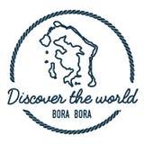 Bora Bora Map Outline Le vintage découvrent le monde Photographie stock libre de droits