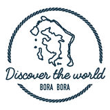 Bora Bora Map Outline O vintage descobre o mundo Fotografia de Stock Royalty Free