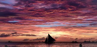 boracay海岛菲律宾放松日落 免版税库存图片