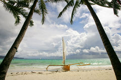 Boracay. Paraw boat on sunny beach on Boracay Island, Philippines Royalty Free Stock Images
