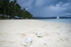 Boracay white beach flip flops philippines royalty free stock images