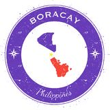 Boracay circular patriotic badge. Grunge rubber stamp with island flag, map and name written along circle border, vector illustration Royalty Free Stock Photography