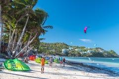 Boracay-Insel, Philippinen - 25. Januar: starker Wind bei Bulabog Lizenzfreies Stockfoto