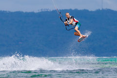 The Boracay internanional funboard cup 28-31 January, 2015. Boracay, Philippines. Freestyle category. Young kitesurfer on stock images