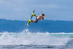 The Boracay internanional funboard cup 28-31 January, 2015. Boracay, Philippines. Freestyle category. Young kitesurfer on stock image