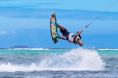 The Boracay internanional funboard cup 28-31 January, 2015. Boracay, Philippines. Freestyle category. Young kitesurfer on stock photos