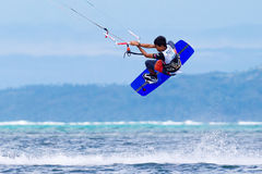 The Boracay internanional funboard cup 28-31 January, 2015. Boracay, Philippines. Freestyle category. Young kitesurfer on stock photography