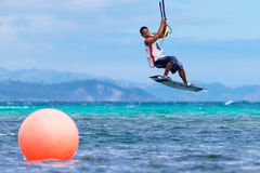 The Boracay internanional funboard cup 28-31 January, 2015. Boracay, Philippines. Freestyle category. Young kitesurfer on royalty free stock photography