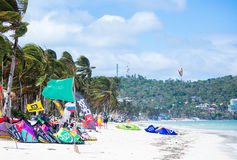 Boracay island, Philippines - January 25: strong wind at Bulabog beach Royalty Free Stock Images