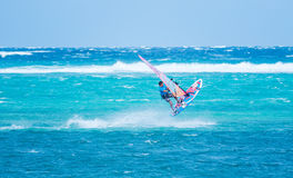 Boracay island, Philippines - January 26: windsurfer enjoying wind power on Bulabog beach Stock Photography
