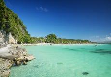 Boracay island tropical diniwid beach in philippines. Boracay island philippines tropical diniwid beach view towards mainland Stock Photo