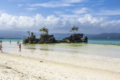 Boracay Philippines island sea, beach, water, ocean, coast, blue, sky, landscape, summer, nature, island, travel, tropical, rock, royalty free stock photos