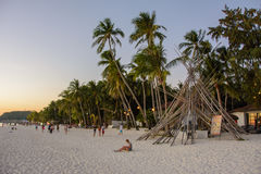 Boracay, Philippines - March 15, 2016: Evening landscape on White Beach Boracay Stock Images