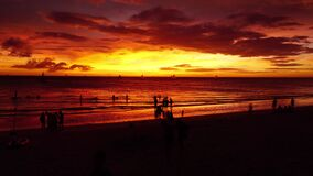 BORACAY, PHILIPPINES MARCH 6, 2018 - Timelapse of amazing sunset. Sail boats silhouettes floating. BORACAY, PHILIPPINES MARCH 6, 2018 - Timelapse of amazing stock video footage