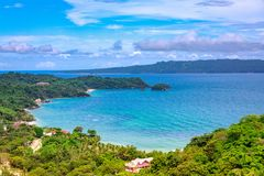 Boracay Island overview from Mount Luho view point in Aklan, Philippines. Boracay, Philippines - Nov 18, 2017 : Boracay Island overview from Mount Luho view Stock Photo