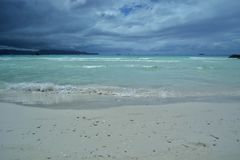 Boracay Shoreline, blue waters and blue sky. At Aklan Philippines, Beachin royalty free stock photo