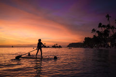 Boracay-Strand-Sonnenuntergang Lizenzfreies Stockfoto