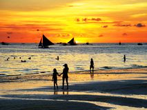 Boracay sunset. Beautiful beaches of the evening in Boracay, Philippines royalty free stock images