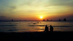 Boracay sunset daze. Beautiful sunset at Bpracay Philippines royalty free stock photos