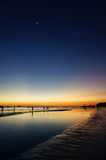 Boracay Sunset, White Beach, Philippines. Beach sunset with moon in the sky Stock Images