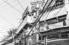 Boracay Utility. A corner utility pole in a more populated area of Boracay, Philippines Stock Photos