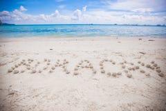 Boracay written in a sandy tropical beach Stock Photos