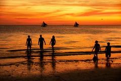 boracay wyspa Philippines relaksuje zmierzch Obraz Stock