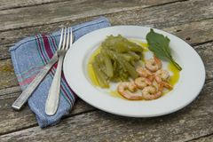 Borage with prawns Stock Image