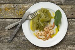 Borage with prawns Stock Photo