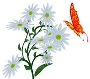 Borboleta abstrata, e flor. ilustração do vetor