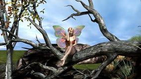 Borboleta bonita feericamente sozinho na floresta ilustração do vetor