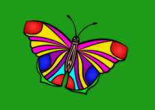 Borboleta colorida ilustrada ilustração do vetor