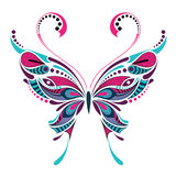 Borboleta colorida modelada Projeto africano/indiano/totem/tatuagem Foto de Stock