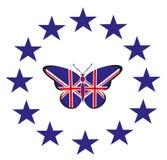 Borboleta com a bandeira do Reino Unido Fotos de Stock Royalty Free