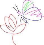 Borboleta com flor ilustração royalty free