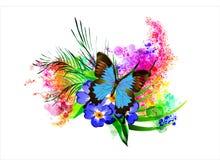 A borboleta com uma flor no fundo do arco-íris espirra
