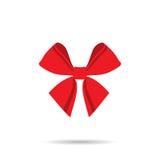 Borboleta da fita com linhas vermelhas em um fundo branco Fotos de Stock Royalty Free