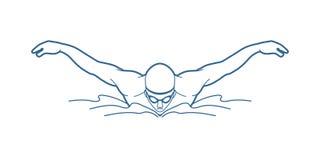 Borboleta da natação, natação do homem ilustração do vetor