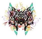Borboleta do Grunge com elementos rodopiados coloridos Foto de Stock Royalty Free