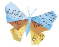 Borboleta do origâmi com notas musicais fotos de stock royalty free