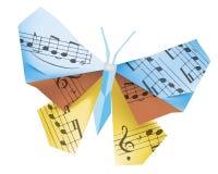 Borboleta do origâmi com notas musicais foto de stock