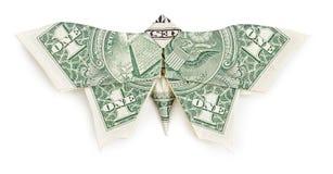 Borboleta do origâmi do dólar no fundo branco Foto de Stock
